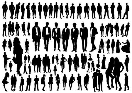 Illustration pour Set of people silhouettes - image libre de droit