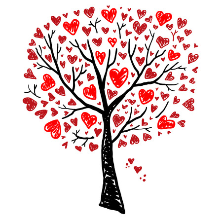 Illustration pour Tree with Hearts - image libre de droit