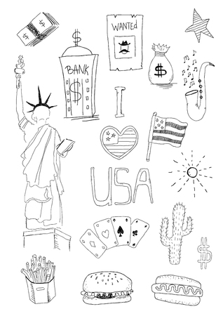 Illustration pour USA New York Vector hand draw doodles set. American isolasted symbols set - image libre de droit