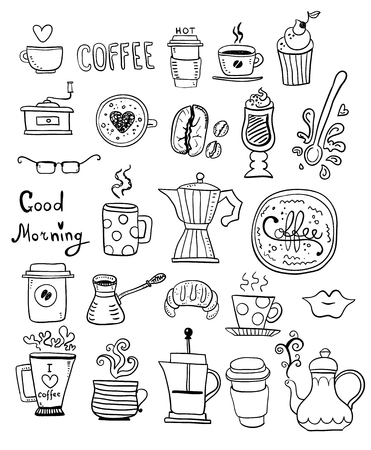Illustration for Doodle hand draw set of coffee drawings, handmade sketches. - Royalty Free Image