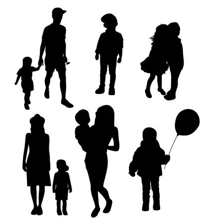Illustration pour set of silhouettes of women mothers with children, vector. Mothers day concept. - image libre de droit