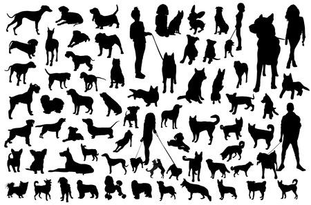 Photo pour Set of dogs silhouette. Black Vector group. - image libre de droit