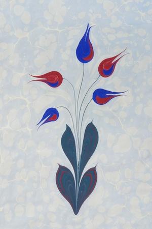 Marbled paper artwork background   - flower design