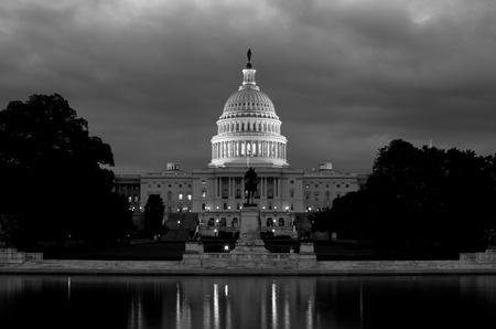 Washington DC, Unites States Capitol Building in black and white