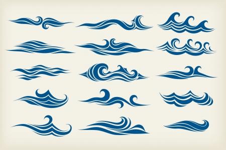Ilustración de set from sea waves - stylized design - Imagen libre de derechos