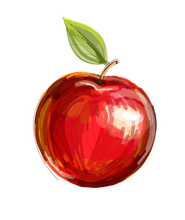Illustration for Vector sketch of red apple in watercolor technique - Royalty Free Image