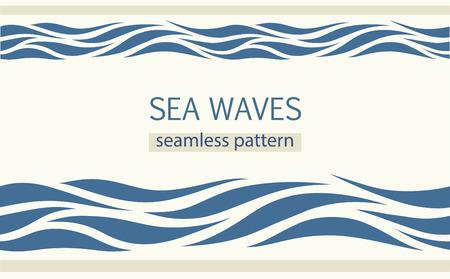 Illustration pour Seamless patterns with stylized sea waves vintage style. - image libre de droit