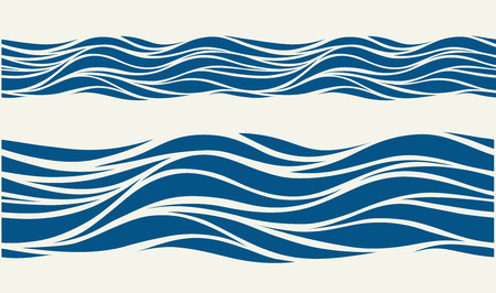 Illustration pour Seamless pattern with stylized blue waves in vintage style - image libre de droit
