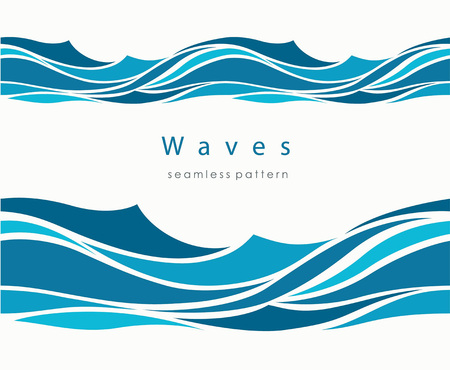 Illustration pour Marine seamless pattern with stylized waves on a light background. Blue water Sea Wave abstract vector background. - image libre de droit