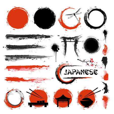 Illustration pour Traditional Japanese style. Set of brushes and other design elements - image libre de droit
