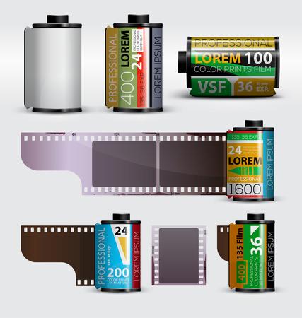 Illustration for 35mm film. Realistic camera film roll. Vector illustration - Royalty Free Image