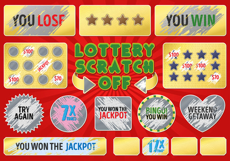 Illustration for Lottery scratch off set. With effect scratch marks. Suitable for scratch card game and win. For a lottery ticket. Win game card. - Royalty Free Image