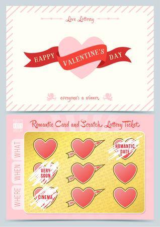 Illustration for Valentine day Lottery scratch card. Game card for Valentine day. - Royalty Free Image