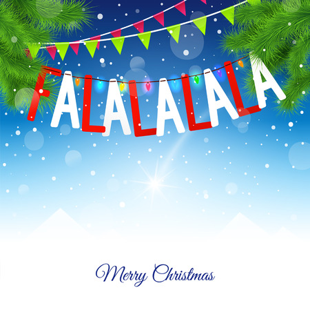 Blue Christmas background with Garlands, flags and inscription Fa la la la la. Abstract Vector background with place for text.