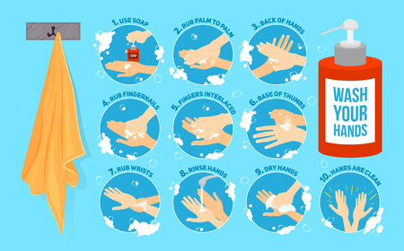 Illustration for Ten steps of how to wash your hands. vector infographic, vector illustration. Hands washing medical instructions. Soap bottle and towel. Flat vector icons. - Royalty Free Image