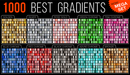 Illustration pour Vector mega set of gradients. Big collection colorful metallic gradient illustration. Gold, silver, blue, red, pink, green, azure, bronze. - image libre de droit