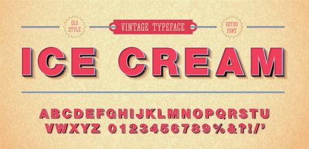 Ilustración de Vector of retro font and alphabet. 3d style - Imagen libre de derechos