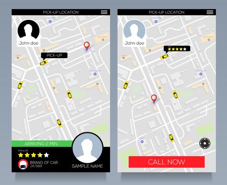 Illustration pour Concept of location service. Pick up taxi service app on mobile phone. Call cab with smartphone. - image libre de droit