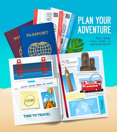 Ilustración de Plane your adventure, Stylish trip banner with opened album, passport, photos, notes and stickers. Travel banner concept. Vector - Imagen libre de derechos