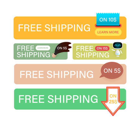 Illustration pour Free Shipping banners set. Banner design template for marketing. Special offer promotion or retail. Free Shipping on all orders for store shop, online store and website. - image libre de droit