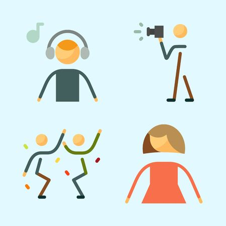 Icons set about Human with photographer, femenine, female, dancing and music listener
