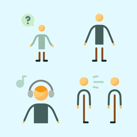 Icons set about Human with question, music listener, male and scream