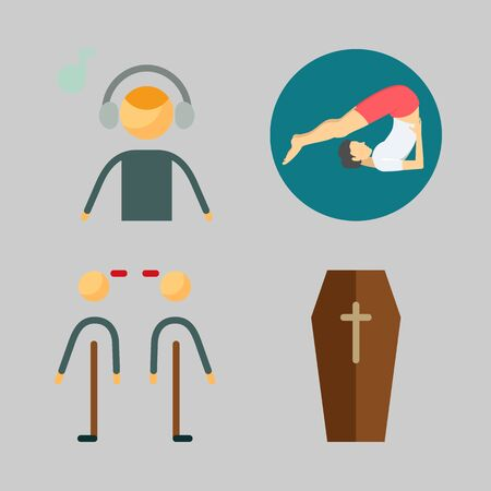Icons set about Human with yoga, coffin, music listener and relations