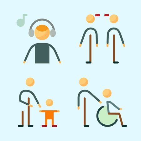 Icons set about Human with baby, father, relations, music listener, father and son and disable