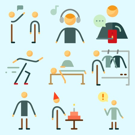 Icons set about Human with male, fashion, massage, birthday boy, sportsman and music listener