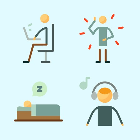 Icons set about Human with working, sleeping, illness and music listener