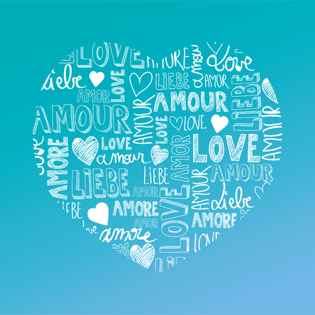 Sweet turquoise color heart with international love words