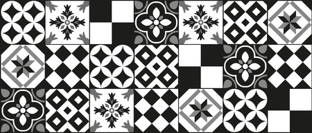 Illustration for Black and white cement tile background design - Royalty Free Image