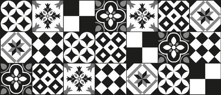 Illustration pour Black and white cement tile background design - image libre de droit