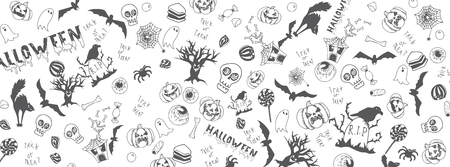 Halloween funny doodles full vector large banner