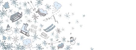 Sweet winter doodles full vector large banner