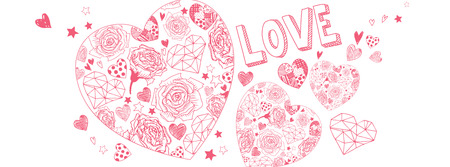 Valentines day doodles illustrations full vector banner