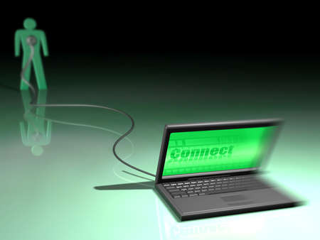 People connected by a laptop