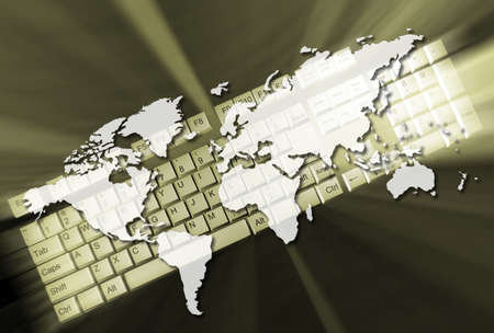 Earth map and a keyboard - 3d render