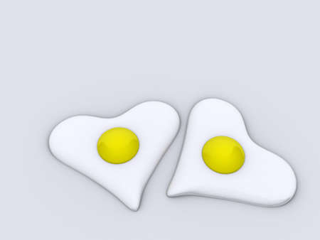 Two cooked eggs in heart shapes - rendered in 3d