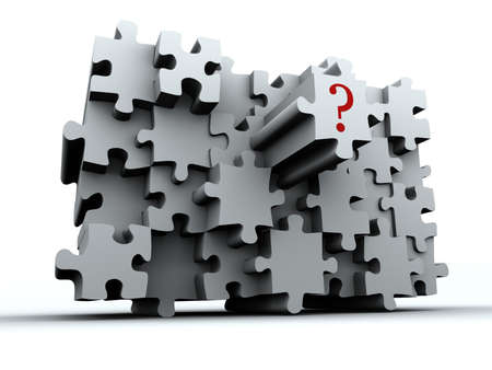 Conceptual puzzle wall with question sign on last piece - renderend in 3d
