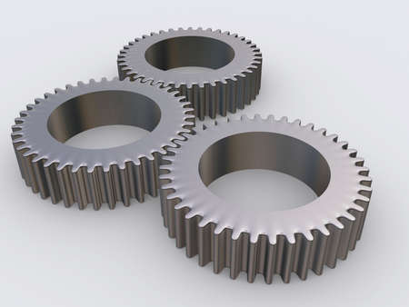 Three conceptual interlocked gears - rendered in 3d
