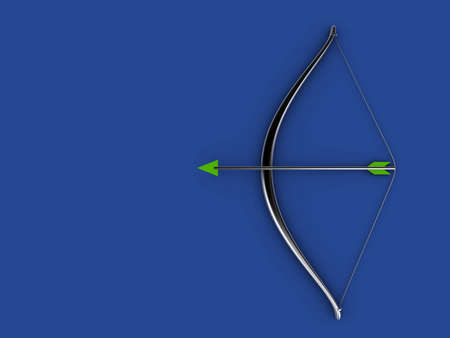 A silver bow and arrow on blue background - 3d render