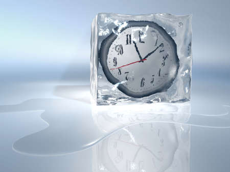 A clock frozen in ice cube - rendered in 3d