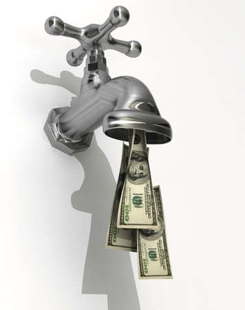 Conceptual faucet dripping money - rendered in 3d