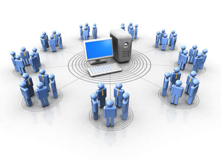 Conceptual people icons in a virtual network - 3d render