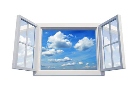 Window open to the sky isolated on white background - 3d render
