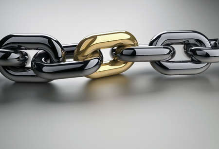 Chain with a shiny golden link - 3d render