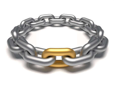 Silver chain in circle with an outstanding golden link - 3d render