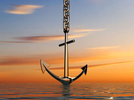 Illustration of anchor going down into the sea - 3d render