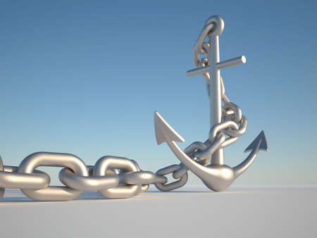 Anchor and link on clear blue sky - 3d render